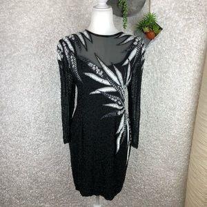 Vintage Lillie Rubin Silk Embellished Dress